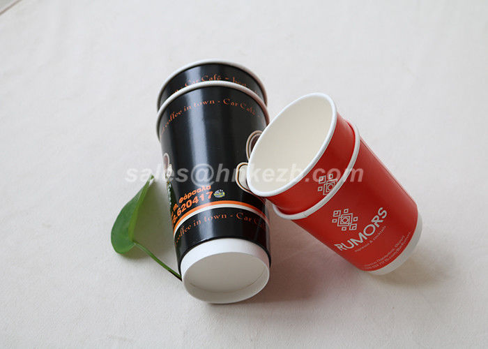 Colorful Eco Friendly Double Wall Paper Cups , Disposable Paper Coffee Cups For Drinking