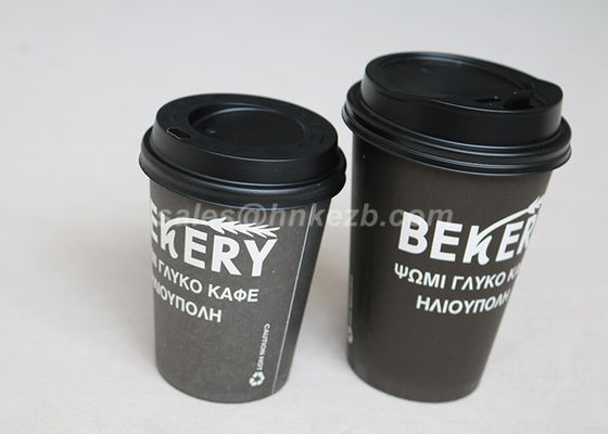 Đen Single / Double Wall Disposable PLA Giấy Cúp Với Lids Custom In